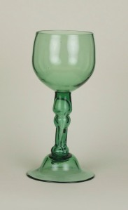82E Green English wine glass with blown hollow stem and dome foot. (82E)