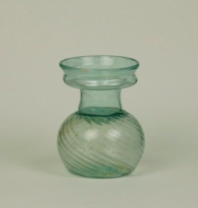 Aqua Sprinkler with Ribbing, H: 7.5 cm, Fourth Century Allaire Collection