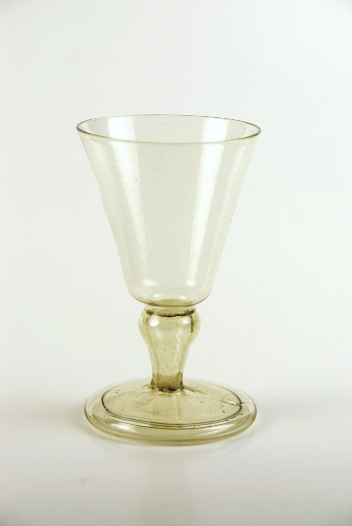 26E Spanish Facon de Venise Wine Glass with Hollos-blown knop, Spanish 18th Century