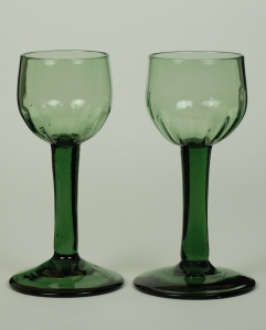 35E a pair of Hock glasses with hammered verticle flutes