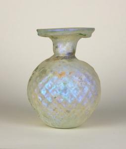 9R Roman mold-blown perfume bottle 3-4th Century
