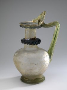 LARGE ROMAN GLASS JUG WITH THUMB-REST