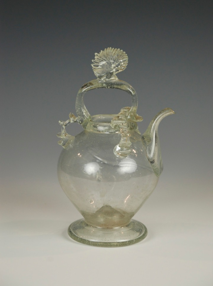 102E French glass holy water cruet with a shell finial