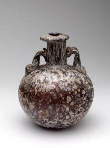 Roman splashed glass aryballos