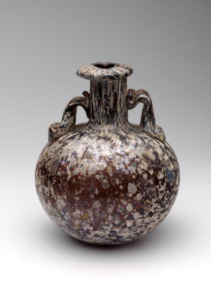 Roman splashed glass aryballos