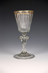 22E German Wine Glass with Gold Rim 18th Century