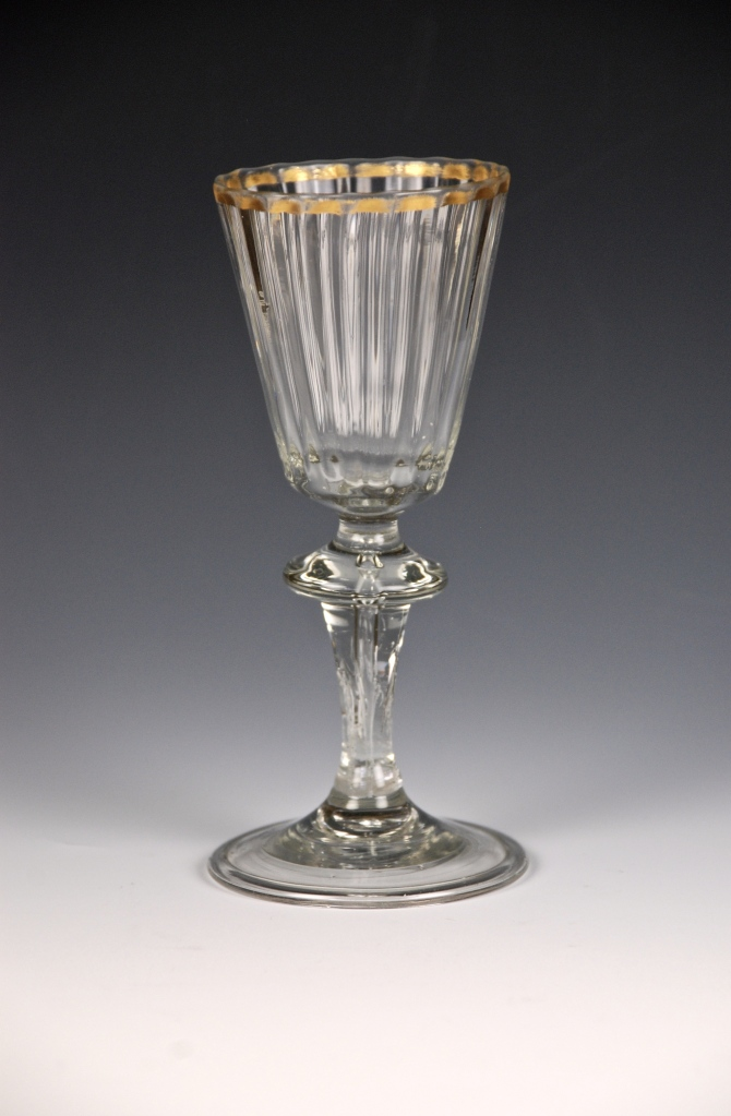 22E German Wine Glass with Gold Rim