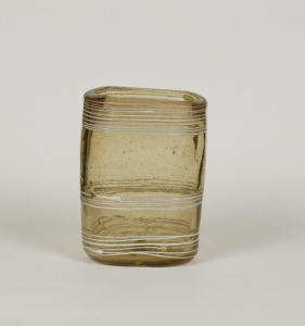 30E Small Glass Pocket Tumbler with White Trailing 18th Century