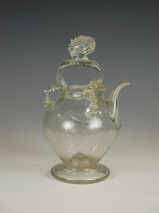 102E Basket Handle with shell finial. Small French Holy Water Cruet 17th C