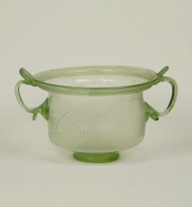 27R Roman glass skyphos with two handles and thumb rests 1st Century