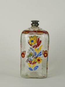 70E Colorless Enamelled Glass Bottle w Cap C. 1770