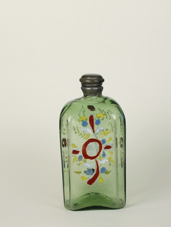 67E Enameled Green Glass Flask