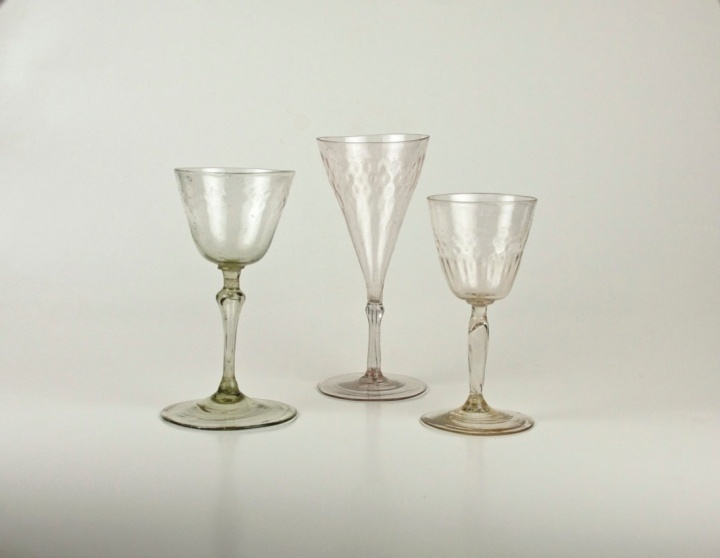 left to right 68E,76E,77E French wine glasses
