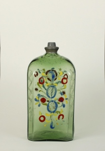 66E Green Enameled Flask without Cap 18th Century