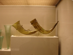 A compairison of two types of drinking horns on the left Frankish and on the right Anglo Saxon 5- 7th C British Museum