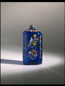 Enamelled glass bottle, with pewter mount 18th Century USA or Germany
