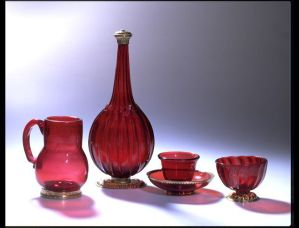 Ruby glass set from Germany 1700