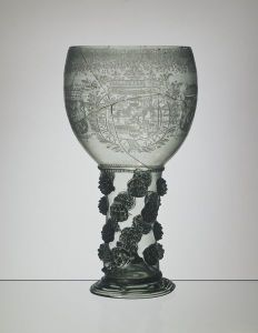 Wine glass (Roemer), probably Netherlands, possibly engraved by G.V. Nes, 1650-1690