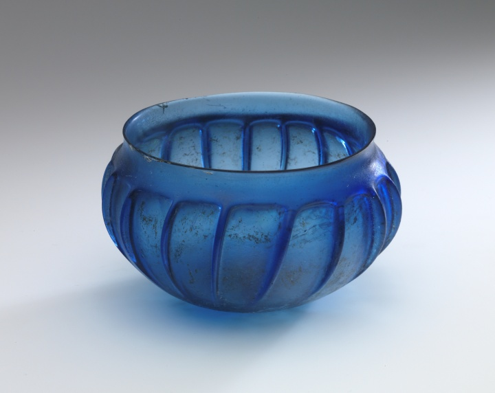 8H ROMAN BLUE RIBBED BOWL