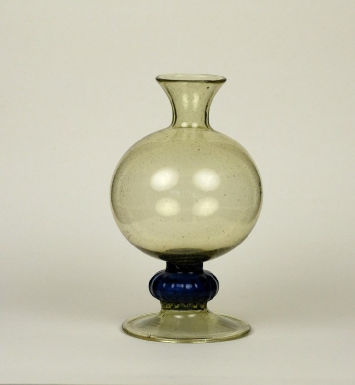 62E Spanish Glass Bottle 17th C with blue mellon knop