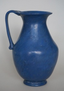 OPAQUE BLUE ROMAN GLASS JUG SIDE A