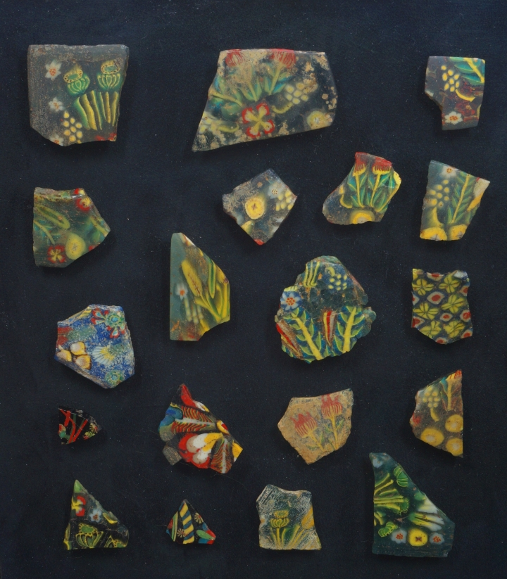 EGYPTIAN FLORAL GLASS INLAYS OR PLAQUES
