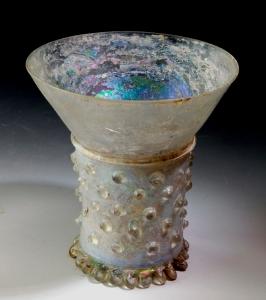 PRUNTED MEDIEVAL GLASS BEAKER