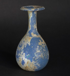 OPAQUE BLUE ROMAN GLASS BUD VASE