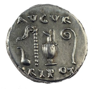 Simpulum depicted on the backside of coins of Roman emperors