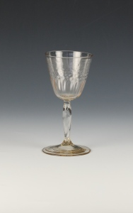Description: The glass has a straw tint with a pattern-molded bucket bowl on a hollow slightly incised stem on a plain foot.76E FrenchWine