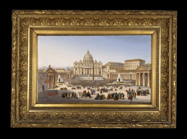 PiazzaS. Pietro nel monento della benedizione papale, (St. Peter's Square at the time of the papal blessing). Vatican Workshop. Roman, Italy , About 1879. 95.3.16. in the Corning Museum of Glass.