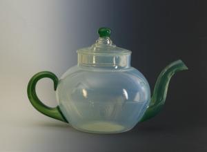 66A Fry Tea Pot with green handle andspout