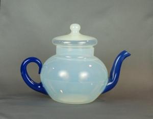 76A Fry Tea Pot with blue handle andspout